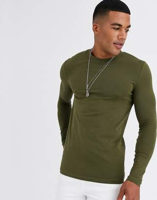 Asos Design DESIGN muscle fit long sleeve t-shirt with crew neck in khaki-Green