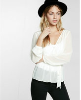 Express belted blouson surplice blouse