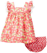 Iris & Ivy Butterfly Print Yoke Dress & Bloomer Set (Baby Girls)