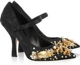 Embellished brocade Mary Jane pumps