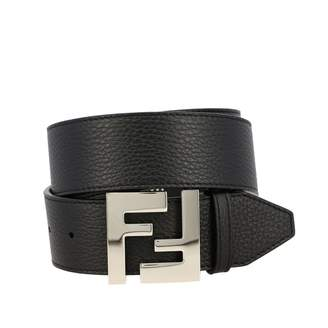 Fendi Textured Leather Belt With Ff Buckle