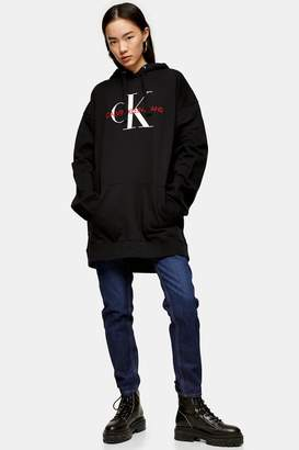 Calvin Klein Womens Monogram Hoodie By Black