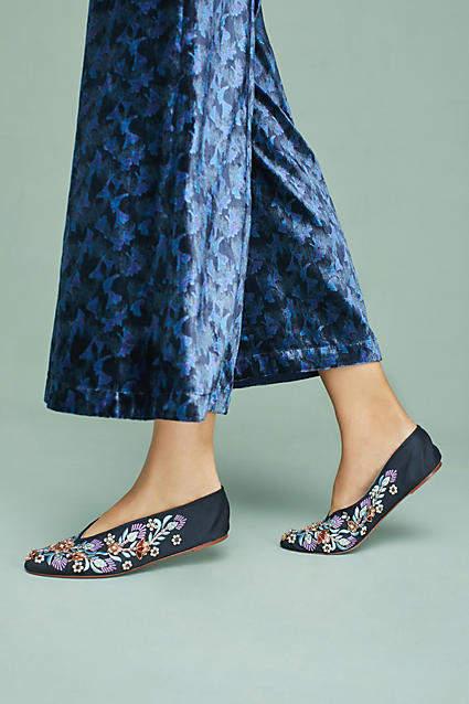 Llani x Embellished Satin Ballet Slippers