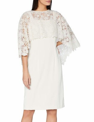 Gina Bacconi Women's Catriona Crepe Dress with Lace Overcape Mother of The Bride