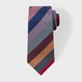 Paul Smith Men's Burgundy Textured Multi-Coloured Stripe Narrow Silk Tie