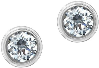 Diamonique Sterling 2.00 cttw Round Bezel Set Stud Earrings