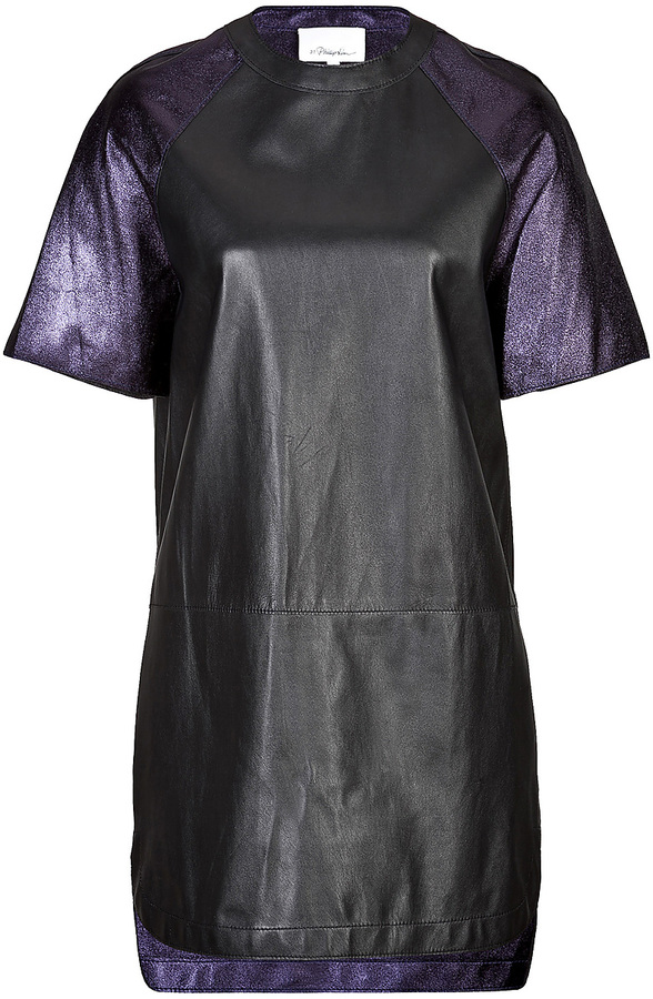 3.1 Phillip Lim Leather Baseball Dress with Contrast Sleeves