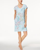 Miss Elaine Tropical-Print Woven Nightgown
