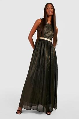 boohoo Boutique Lace & Metallic Maxi Dress
