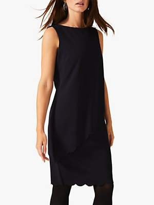 Phase Eight Reanna Scallop Overlay Dress, Navy