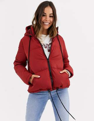 Brave Soul cello hooded puffer jacket-Brown