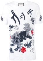 Gucci L'aveugle par amour dragon t-shirt - men - Linen/Flax - L
