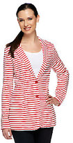 Denim & Co. French Terry Striped Button Front Blazer