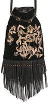 Roberto Cavalli Serpent Embroidered Velvet Bucket Bag