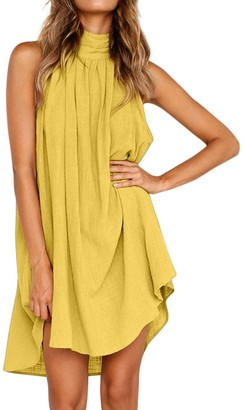 Your New Look Women's Casual Irregular Sleeveless Loose Fit Dress Fashion Solid Color Halter Dress for Summer Beachwear Vacation Plus Size Yellow