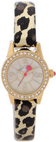 Betsey Johnson Analog Mini Crystal Leopard Leather Strap Watch