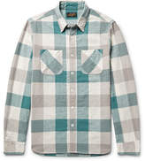 Beams Slim-fit Checked Linen And Cotton-blend Shirt - Gray