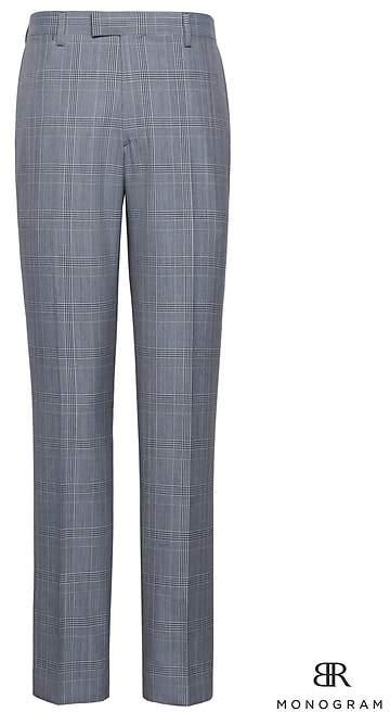 Banana Republic Monogram Slim Plaid Italian Wool Suit Pant