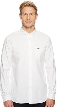 Lacoste Long Sleeve Oxford Button Down Collar Regular (White) Men's Long Sleeve Button Up