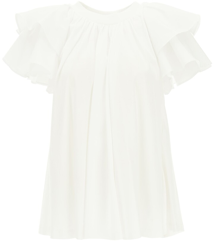Thumbnail for your product : Alexander McQueen RUFFLED T-SHIRT 38 White Cotton