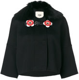 Fendi floral embellished jacket - women - Fox Fur/Plastic/Lamb Fur/Virgin Wool - 38