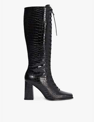 The Kooples Lace-up croc-effect leather boots