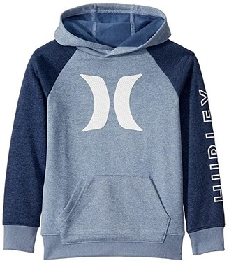 Hurley Dri-Fit Solar French Terry Icon Pullover Hoodie (Little Kids) (Delft Heather) Boy's Sweatshirt