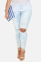 Fashion to Figure Blown Out Knee Distressed Ankle Jean