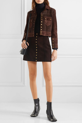 RE/DONE 60s Cropped Two-tone Suede Jacket - Dark brown