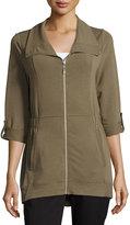 Neiman Marcus Jersey Short-Collar Roll-Sleeve Jacket