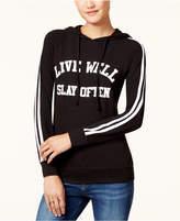 Ultra Flirt Juniors' Varsity Stripe Graphic Hoodie T-Shirt