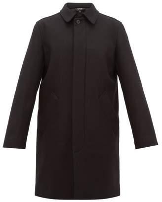 A.P.C. Rhode Brushed Virgin Wool Blend Twill Overcoat - Mens - Black