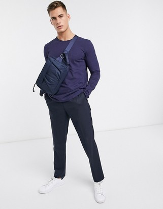 Selected organic cotton long sleeve pocket t-shirt in navy