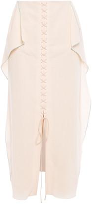 Roland Mouret Halfin Lace-up Draped Wool-crepe Midi Skirt