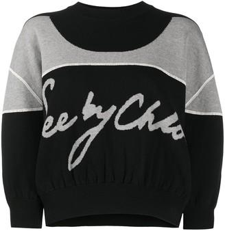 See by Chloe Bi-Colour Logo Sweater