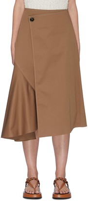 Acne Studios Asymmetric waist side pleat midi skirt