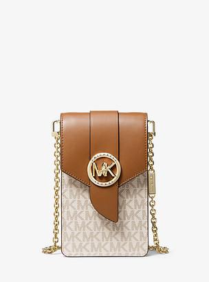 Michael Kors Small Logo And Leather Smartphone Crossbody Bag