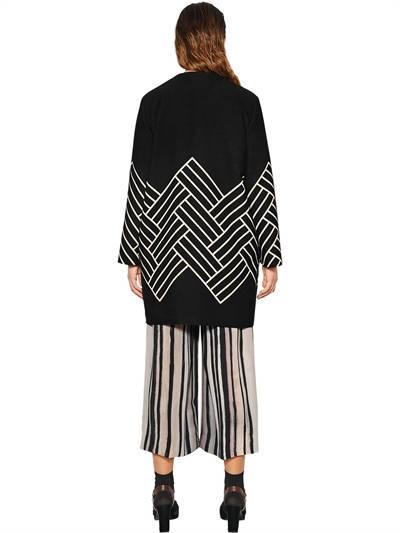Marina Rinaldi Geometric Wool Blend Jacquard Coat