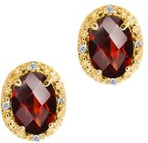 Gem Stone King 1.65 Ct Checkerboard Red Garnet and White Diamond 18k Yellow Gold Earrings