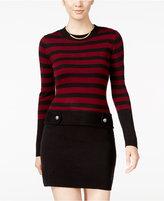 Amy Byer Juniors' Striped Tab-Waist Sweater Dress