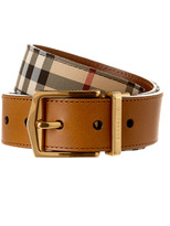 Burberry Reversible Horseferry Check And Leather Belt