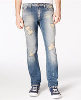 GUESS Men's Slim-Straight-Fit Destroyed Sky High Wash Ripped Jeans