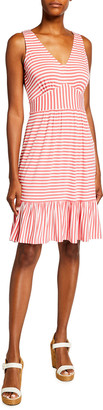 MICHAEL Michael Kors Striped V-Neck Flounce-Hem Dress