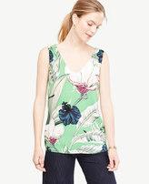 Ann Taylor Petite Palm Leaf Sleeveless Top