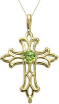 JCPenney FINE JEWELRY Genuine Peridot 10K Yellow Gold Cross Pendant Necklace
