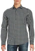 Hudson Black Brown 1826 Blocked Plaid Flannel Sport Shirt