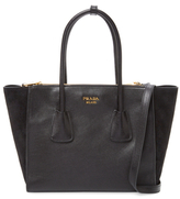Prada Double Zip Small Leather Tote