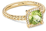 David Yurman Petite Chatelaine Pave Bezel Ring in 18K Yellow Gold with Peridot and Diamonds