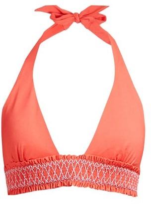Heidi Klein Smocked Halterneck Bikini Top - Womens - Red