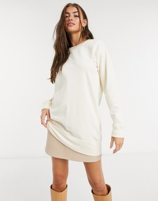 Pieces long sleeved sweatshirt co ord in cream